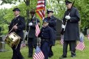 Veteran Smith leads members of Grand Army of Republic Post 88, Pittsburgh, and Armbrust Veterans and Civil War Re-enactors, for ceremony at graveside of Guibert, a Union Civil War drummer boy, in Pittsburgh, Pennsylvania