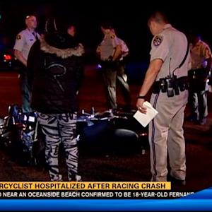 Motorcyclist hospitalized after racing crash in Lemon Grove