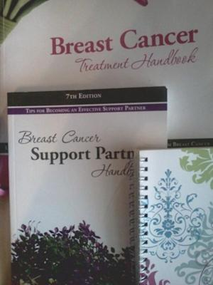 Books and a journal were part of a breast cancer information kit given to me by my Mercy Health Breast Navigator. Donations from Susan G. Komen for the Cure enabled me access to this information.