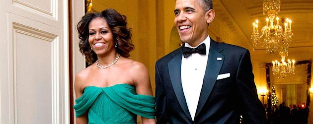 Michelle Obama's chic gown (Getty)