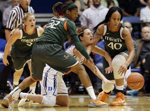 Duke women use strong 2nd half to rout Miami 82-43
