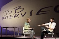 "In this theater image released by The Hartman Group, Lisa Emery, left, and Topher Grace are shown during a performance of ""Lonely I'm Not,"" in New York. (AP Photo/The Hartman Group, Joan Marcus)"