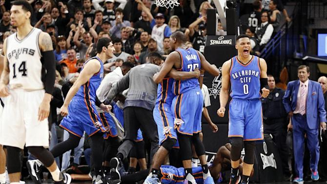NBA playoff scores 2016: Russell Westbrook, Kevin Durant and a little bit of luck carry Thunder past Spurs