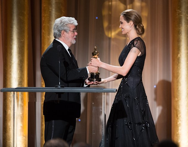 George Lucas presents the Jean Hersholt Humanitarian Award to Angelina Jolie on Saturday