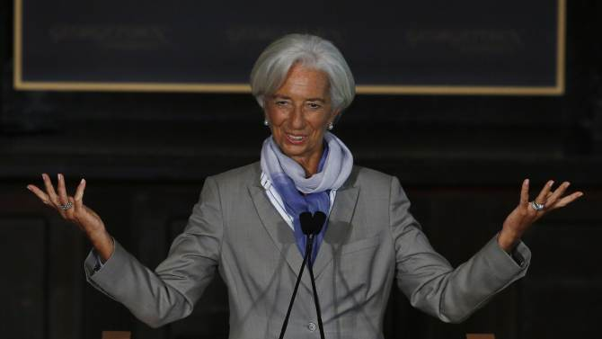 IMF Director Lagarde concludes her speech on the global economy at Georgetown University in Washington
