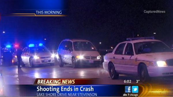 Woman shot to death, van crashes on LSD at I-55
