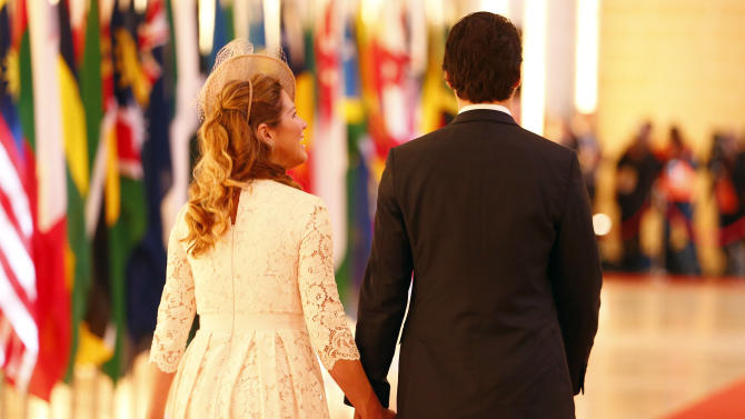 Canadian Prime Minister Trudeau and his wife Sophie Gregoire arrive for the opening ceremony of the Commonwealth Heads of Government Meeting in Valletta