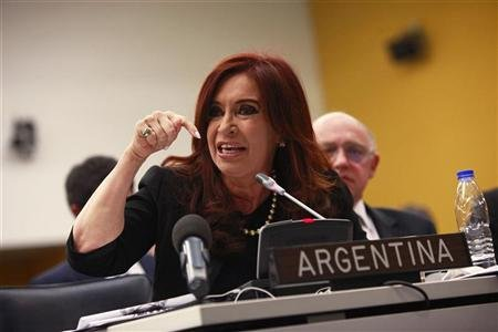Argentina's President Fernandez at the U.N. headquarters in New York