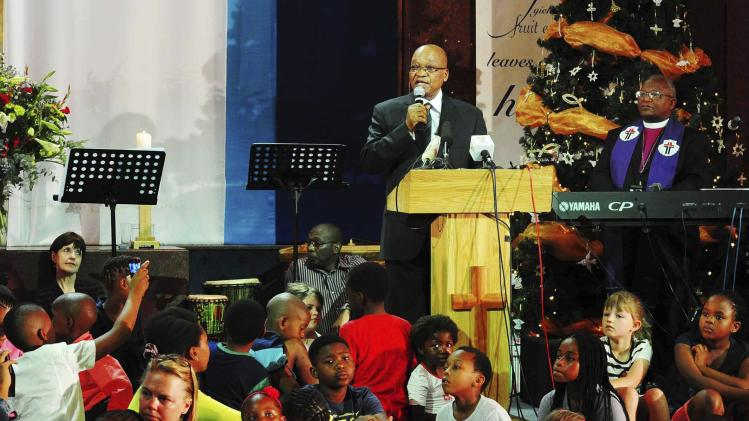 South Africa's President Jacob Zuma addresses the church service celebrating and remembering the life of Nelson Mandela in Johannesburg