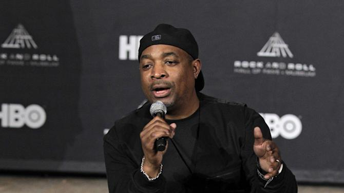 Rapper Chuck D answers questions in the press room after introducing the Beastie Boys for induction into the Rock and Roll Hall of Fame Saturday, April 14, 2012, in Cleveland. (AP Photo/Amy Sancetta)