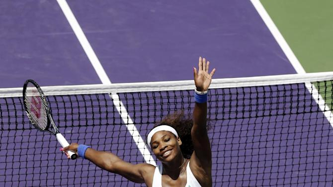 Serena Williams celebrates after defeating Maria Sharapova, of Russia, 4-6, 6-3, 6-0, during the final match of the Sony Open tennis tournament, Saturday, March 30, 2013, in Key Biscayne, Fla. (AP Photo/Wilfredo Lee)
