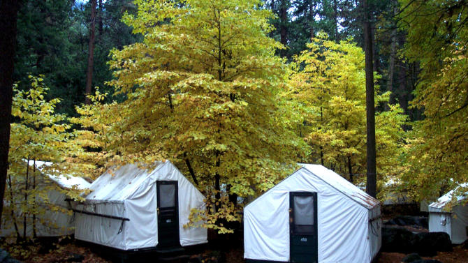 "In this undated photo provided by DNC Parks and Resorts at Yosemite, Inc., are tent cabins in the fall at Yosemite National Park in California. Yosemite officials are expanding their efforts notify visitors to a complex of tent cabins who may have been exposed to a rare but potentially deadly rodent-carried virus. Officials said Wednesday they have notified 2,900 visitors who stayed in the Curry Village ""Signature Cabins"" since mid-May, up from 1,700 initially notified. (AP Photo/DNC Parks and Resorts at Yosemite, Inc.)"