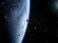Human-made orbital debris threatens use of Earth orbiting spacecraft.