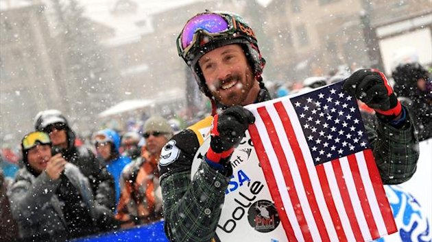 Seth Wescott of the US celebrates after winning the USANA Snowboardcross World Cup in Telluride (AFP)