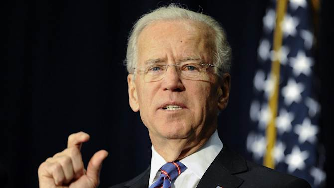 Vice President Joe Biden gestures as he speaks at a gun violence conference in Danbury, Conn., Thursday, Feb. 21, 2013. The conference was held near Newtown, Conn. where 26 lives were lost in the Sandy Hook Elementary School shooting, was organized by members of the state's congressional delegation is to push President Barack Obama's gun control proposals. (AP Photo/Jessica Hill)