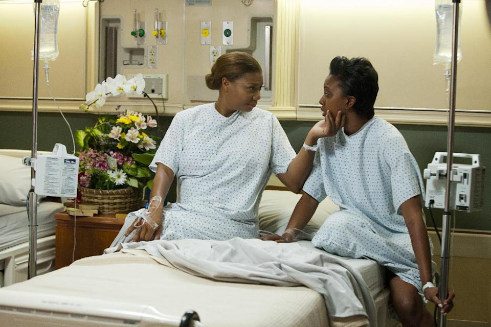 "This undated image released by Lifetime shows Queen Latifah as M'Lynn, from left, Condola Rashad as Shelby in a scene from the Lifetime Original Movie, ""Steel Magnolias,"" premiering Sunday, Oct. 7, at 9pm on Lifetime.  (AP Photo/Lifetime, Annette Brown)"
