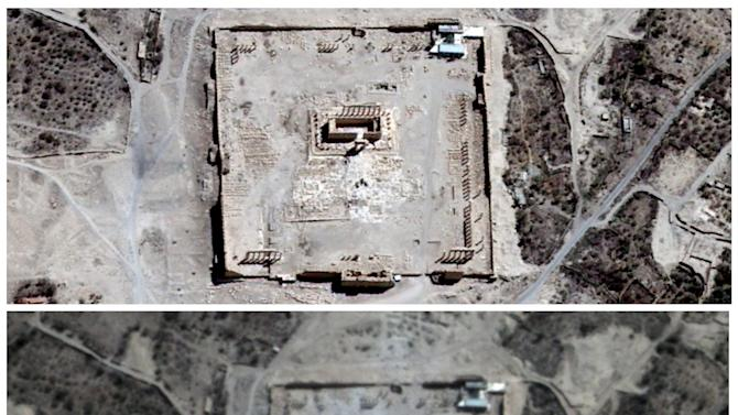 Handout satellite image shows the site of the Temple of Bel before its apparent destruction in Palmyra, Syria
