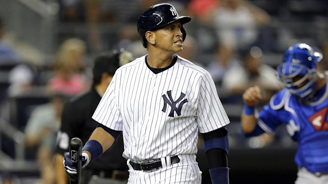 New York Yankees' Alex Rodriguez reacts after striking out in the fourth inning of the second baseball game of a doubleheader against the Toronto Blue Jays at Yankee Stadium, Tuesday, Aug. 20, 2013, in New York. (AP Photo/Kathy Willens)