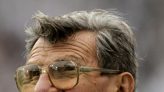 """FILE - In this Sept. 16, 2006 file photo, then Penn State coach Joe Paterno watches the college football game against Youngstown State in State College, Pa. Paterno, the Penn State football coach since 1966, was told by an assistant coach that he saw former Penn State defensive coordinator Jerry Sandusky and a young boy in a shower on the Penn State campus and Paterno in turn, told Penn State officials. The Penn State Board of Trustees ousted him on Nov. 6, 201 for what was called his """"failure of leadership"""" surrounding allegations about Sandusky. He died of lung cancer Jan. 22, 2012. Despite Sandusky's delay requests, it now appears his case will get under way Tuesday, June 5, 2012, with selection of jurors from among neighbors in the area around Penn State, a location that before November could be called Happy Valley without a hint of irony or bitterness. (AP Photo/Carolyn Kaster, File)"""