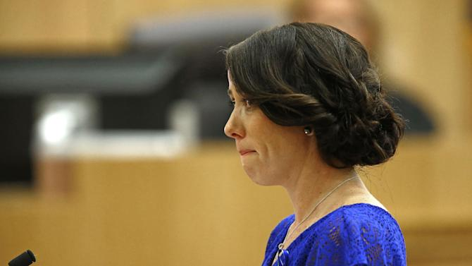 """Samantha Alexander, sister of murder victim Travis Alexander, cries as she makes her """"victim impact statement"""" to the jury on Thursday, May 16, 2013, during the penalty phase of the Jodi Arias trial at Maricopa County Superior Court in Phoenix.  Jodi Arias was convicted of first-degree murder in the stabbing and shooting to death of Travis Alexander, 30, in his suburban Phoenix home in June 2008. (AP Photo/The Arizona Republic, Rob Schumacher, Pool)"""