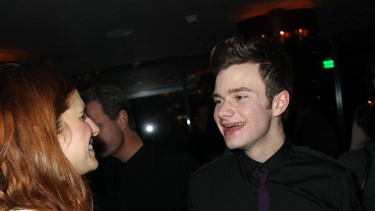 Lake Bell, left, and Chris Colfer attend DETAILS Hollywood Mavericks Party on Thursday, Nov. 29, 2012 in Los Angeles. (Photo by Matt Sayles/Invision for Details Magazine/AP Images)