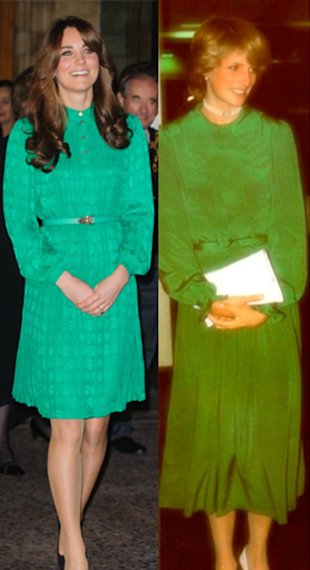 Kate Middleton And The Late Princess Diana In Similar Green Dresses
