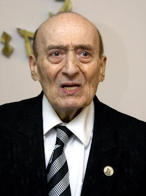In this Wednesday, April 21, 2010 file photo, leading Lebanese singer and composer Wadih Safi speaks during a news conference to announce the Lebanon's Baalbek festival in Beirut, Lebanon. Safi passed away on Friday, Oct. 11, 2013 at the age of 92. (AP Photo/Ahmed Omar)