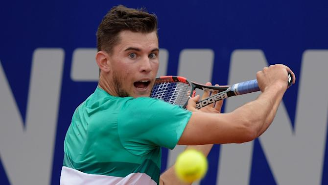 Austria's Dominic Thiem returns a ball to Spain's Rafael Nadal during their semi-final match at the ATP Argentina Open in Buenos Aires, on February 13, 2016