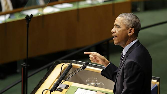 U.S. President Barack Obama addresses the Climate Summit at United Nations headquarters, Tuesday, Sept. 23, 2014. (AP Photo/Seth Wenig)