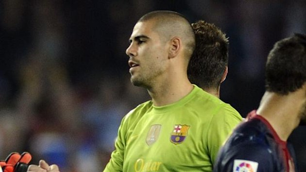 Barcelona goalkeeper Victor Valdes (Reuters)