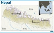 Map showing Upper Dolpa in Nepal