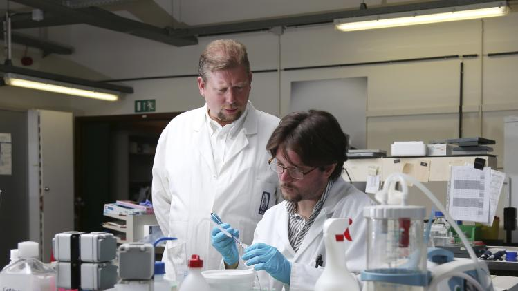 Belgian researcher Pierre Sonveaux stands next to his team member Paolo Porporato of Italy as they examine a sample of proteins at the University of Louvain's Institute of Experimental and Clinical Research in Brussels
