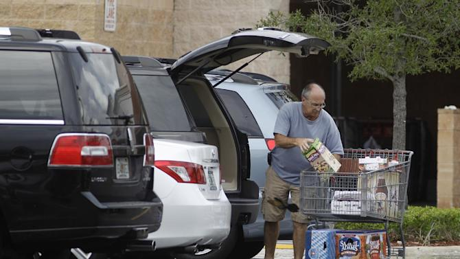 Unidentified shoppers unload their shopping cart at a Pembroke Pines, Fla. Costco store Thursday, Sept. 29, 2011. The Commerce Department said Friday, Sept. 30, 2011 that consumer spending rose 0.2 percent in August after a revised 0.7 percent increase in July.   (AP Photo/J Pat Carter)