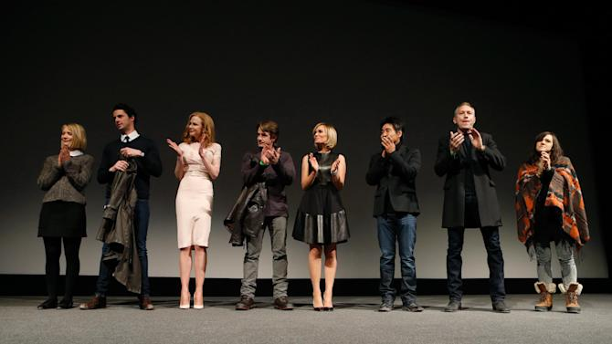 "IMAGE DISTRIBUTED FOR FOX SEARCHLIGHT - From left, actors Mia Wasikowska, Matthew Goode, Nicole Kidman, Dermot Mulroney, Judith Godreche, cinematographer Chung-hoon Chung, producer Michael Costigan and composer Emily Wells speak onstage at Fox Searchlight's ""The Stoker"" premiere during Sundance Film Festival on Sunday, Jan. 20, 2012 in Park City, Utah. (Photo by Todd Williamson /Invision for Fox Searchlight/AP Images)"