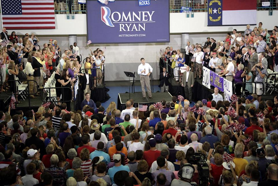 Republican vice presidential candidate, Rep. Paul Ryan, R-Wis., speaks during a campaign event at East Carolina University, Monday, Sept. 3, 2012 in Greenville, N.C.  (AP Photo/Mary Altaffer)