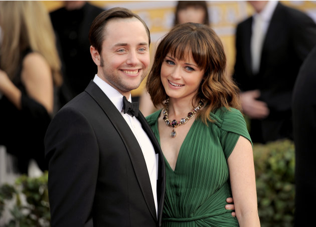 FILE - This Jan. 27, 2013 file photo shows actors Vincent Kartheiser, left, and Alexis Bledel at the 19th Annual Screen Actors Guild Awards at the Shrine Auditorium in Los Angeles. Bledel's publicist,