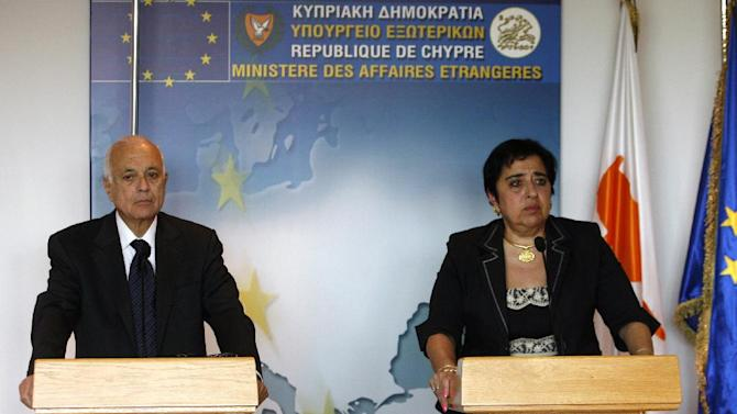 "Cyprus' foreign minister Erato Kozakou-Marcullis, right, and Arab League Secretary General, Nabeel El-Araby speak to the media during a press conference after their meeting at Foreign House in Nicosia, Cyprus, Monday,  June 18, 2012. El-Araby is calling for a peacekeeping force to be deployed to violence-wracked Syria in order to ""impose a ceasefire."" She is in Cyprus on a two-day official visit. (AP Photo/Philippos Christou)"