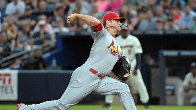 St. Louis Cardinals starting pitcher Shelby Miller delivers to the Atlanta Braves during the first inning of a baseball game at Turner Field, Sunday, July 28, 2013, in Atlanta. (AP Photo/David Tulis)
