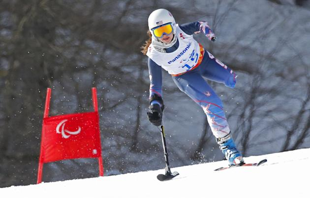Stephanie Jallen of the United States races to win bronze medal in the alpine skiing, ladies, Super-G, standing event at the 2014 Winter Paralympics, Monday, March 10, 2014, in Krasnaya Polyana, Russi