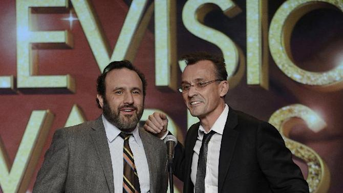 (L-R) Jason Ensler and Robert Knepper onstage at the 34th College Television Awards presented by the Academy of Television Arts & Sciences Foundation at the JW Marriott Los Angeles L.A. Live on April 25, 2013 in Los Angeles, California. (Photo by Phil McCarten/Invision for the Academy of Television Arts & Sciences/AP Images)