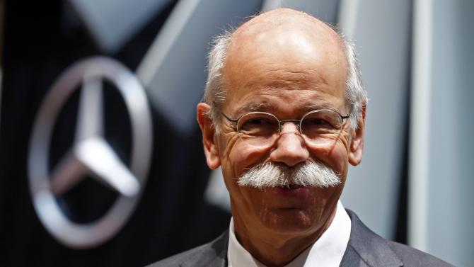 Daimler CEO Zetsche smiles during the first press day ahead of the 85th International Motor Show in Geneva