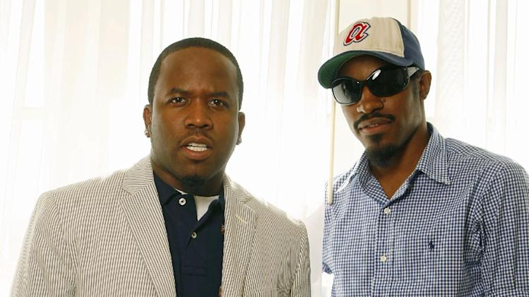 "FILE - This Aug. 11, 2006 file photo shows musicians Andre Benjamin, right, and Big Boi, of the musical group Outkast in Los Angeles. OutKast announced Monday, Jan. 13, 2014, that it will play 40 dates, but they did not say where. Andre ""Andre 3000"" Benjamin and Antwan ""Big Boi"" Patton announced last week they were coming off hiatus and performing together for the first time in half a decade at the Coachella Valley Arts & Music Festival in April. (AP Photo/Damian Dovarganes, File)"