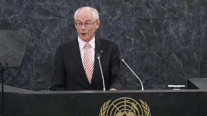 Van Rompuy, President of the European Council, addresses the 68th United Nations General Assembly at U.N. headquarters in New York