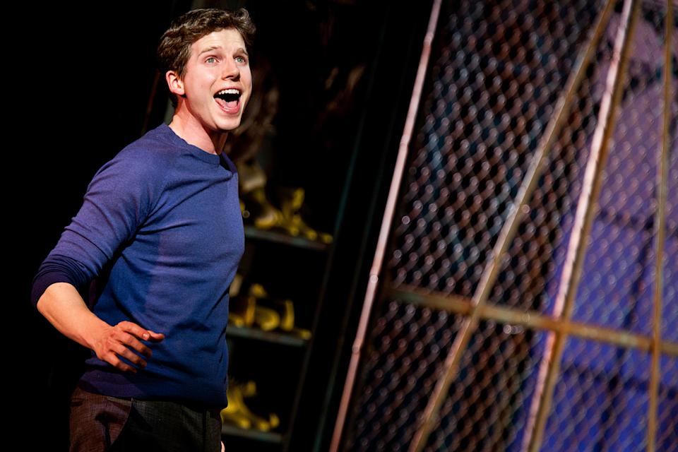 "This theater image released by The O+M Company shows Stark Sands during a performance of ""Kinky Boots."" (AP Photo/The O+M Company, Matthew Murphy)"