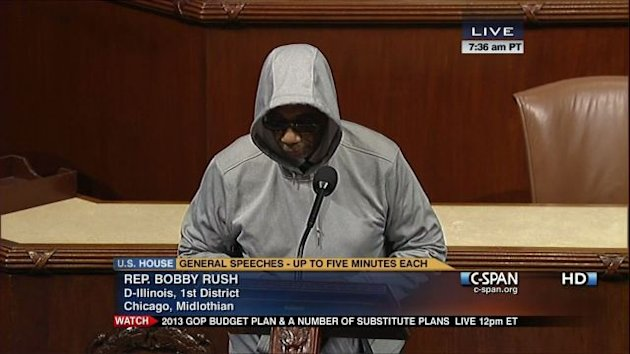Illinois Representative Bobby Rush Wears Black Crime Terror Hoodie, Terrified Lawmakers Kick Him From House Floor