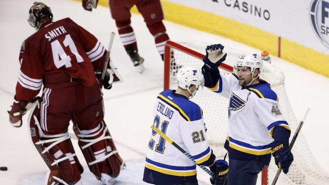 Backes scores 4 goals to lead Blues in 6-0 win over Coyotes
