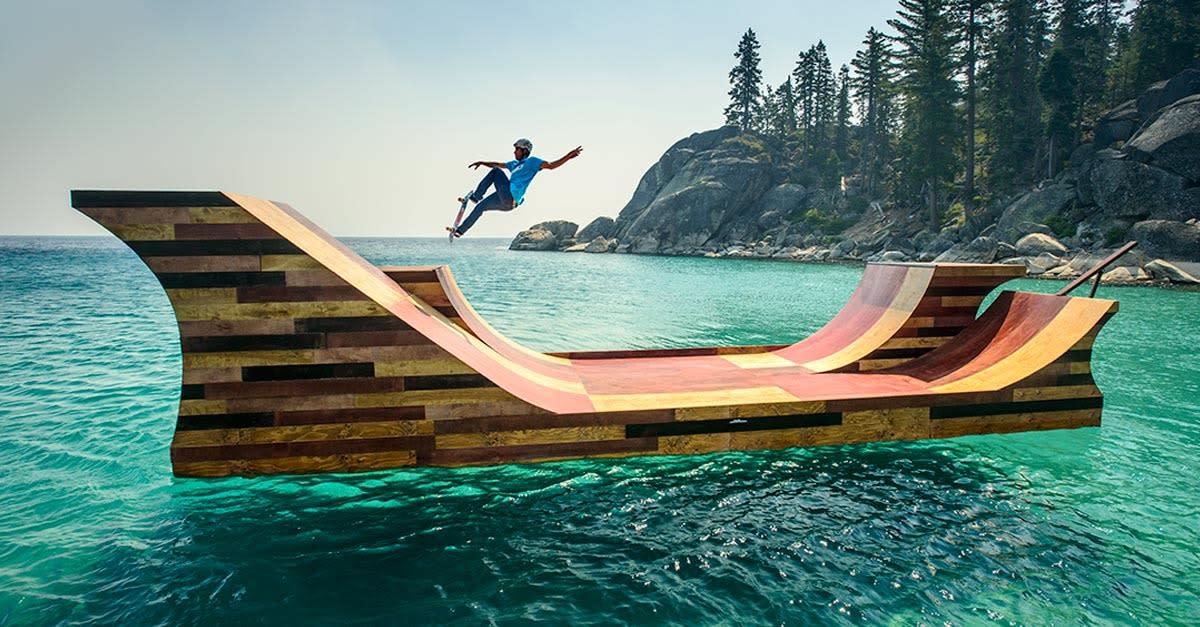 Floating Skate Ramp on Lake Tahoe