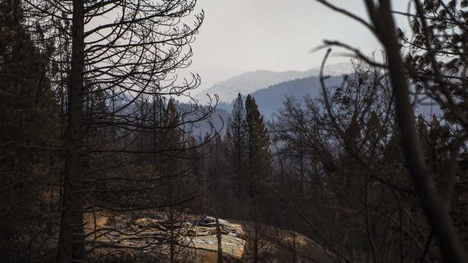 A building burned by the King Fire is seen in Pollock Pines, California