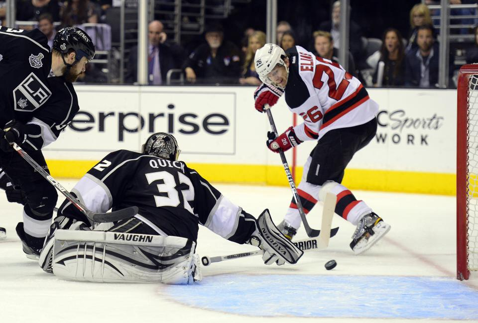 New Jersey Devils Patrik Elias (26), of Czech Republic, shoots the puck past Los Angeles Kings goalie Jonathan Quick (32) for a goal in the third period during Game 4 of the NHL hockey Stanley Cup finals, Wednesday, June 6, 2012, in Los Angeles.  (AP Photo/Mark J. Terrill)