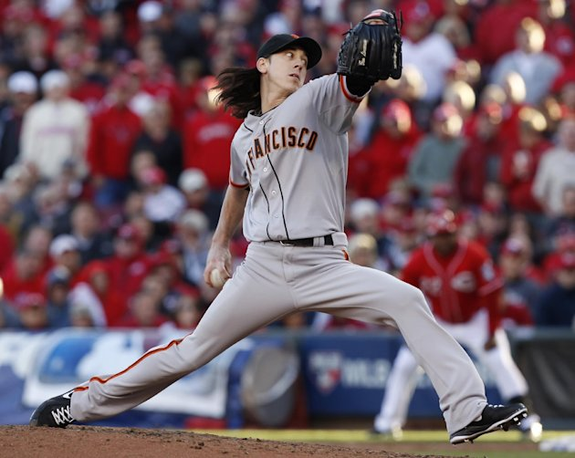 Tim Lincecum looks to find his old stuff on Thursday. (AP)